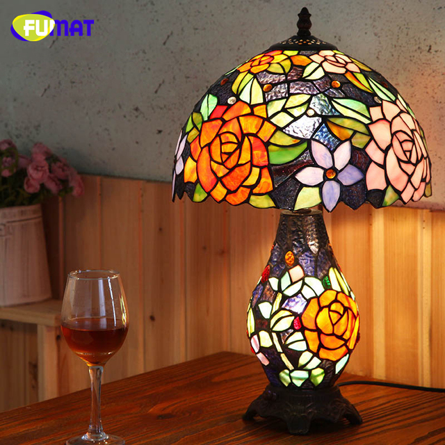 FUMAT European Tiffany Table Lamps Pastroal Living Room Bed Room Bedside  Lightings Creative Art Vintage LED