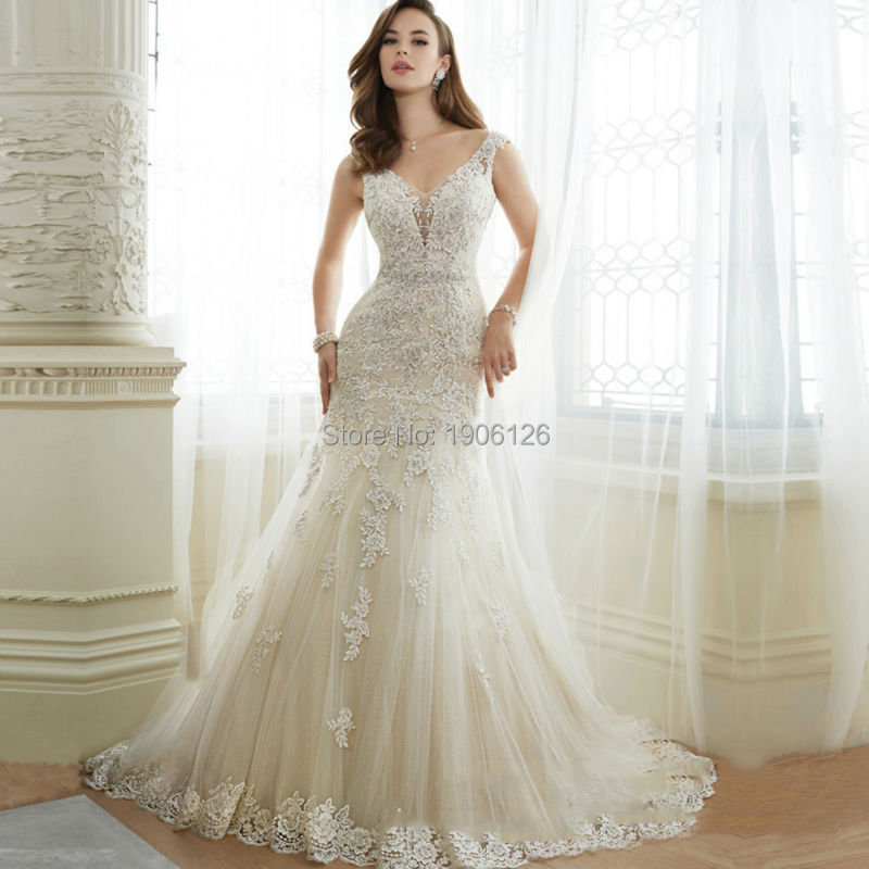 Sexy Off White China Mermaid Wedding Dresses Lace Beads Bridal ...