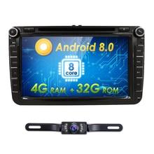 2 din Android 8,0 Octa Core 4 GB Оперативная память 32grom автомобильный DVD для VW Passat CC Polo GOLF 5 6 блок EOS T5 Sharan Jetta Tiguan с GPS и RADIO BT