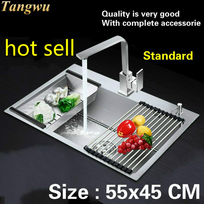 Free Shipping  Hot Sell Household Vogue Balcony Kitchen Manual Sink Single Trough Small Durable 304 Stainless Steel 550x450 MM