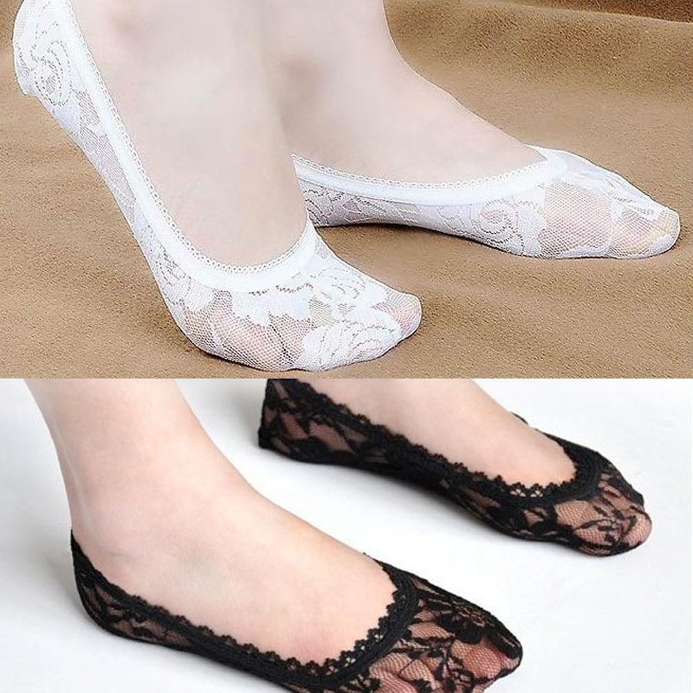 La MaxPa Summer Women Lace Flower Boat Socks Invisible Cotton Sole Non-slip Antiskid Slippers Anti-Slip Sock 1pair=2pcs K214