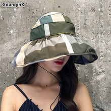 XdanqinX Elegant Adult Womens Sun Hat Foldable Ladys Beach Hats Large Visor Female Cap Anti-UV Breathable Caps For Women