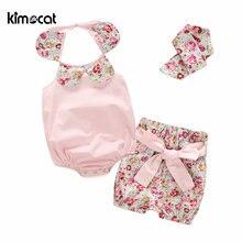 Kimocat летняя одежда для маленьких девочек 3 шт розовая Милая