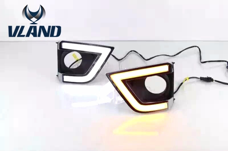 Free shipping vland for Toyota Corolla 2014 2015 2016 Yellow Turning Singal Waterproof ABS 12V Car DRL LED Daytime Running Light
