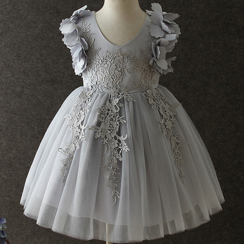 2019 High end children's clothing canonicals flower girl wedding dress sweet princess baby lace pink fluffy mesh formal clothing