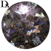 DS Natural Flash Labradorite Slice Moonstone Slice Quartz Crystal Stone Minerals Specimen Cup Mat Healing Crystal Home Decoratio