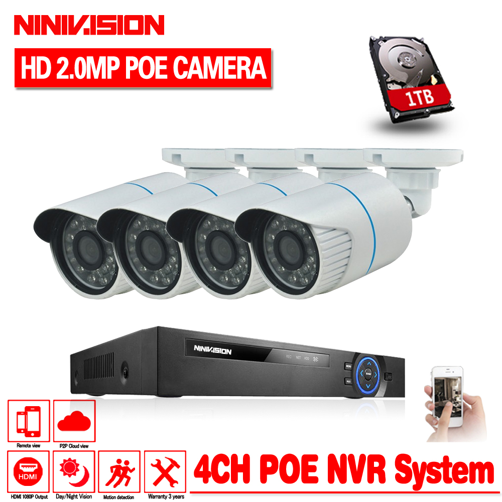 NINIVISION H.264 4CH 2MP POE NVR Kit Security Camera CCTV System 4PCS 2.0MP IR Outdoor IP Camera P2P Onvif Surveillance DIY Set image