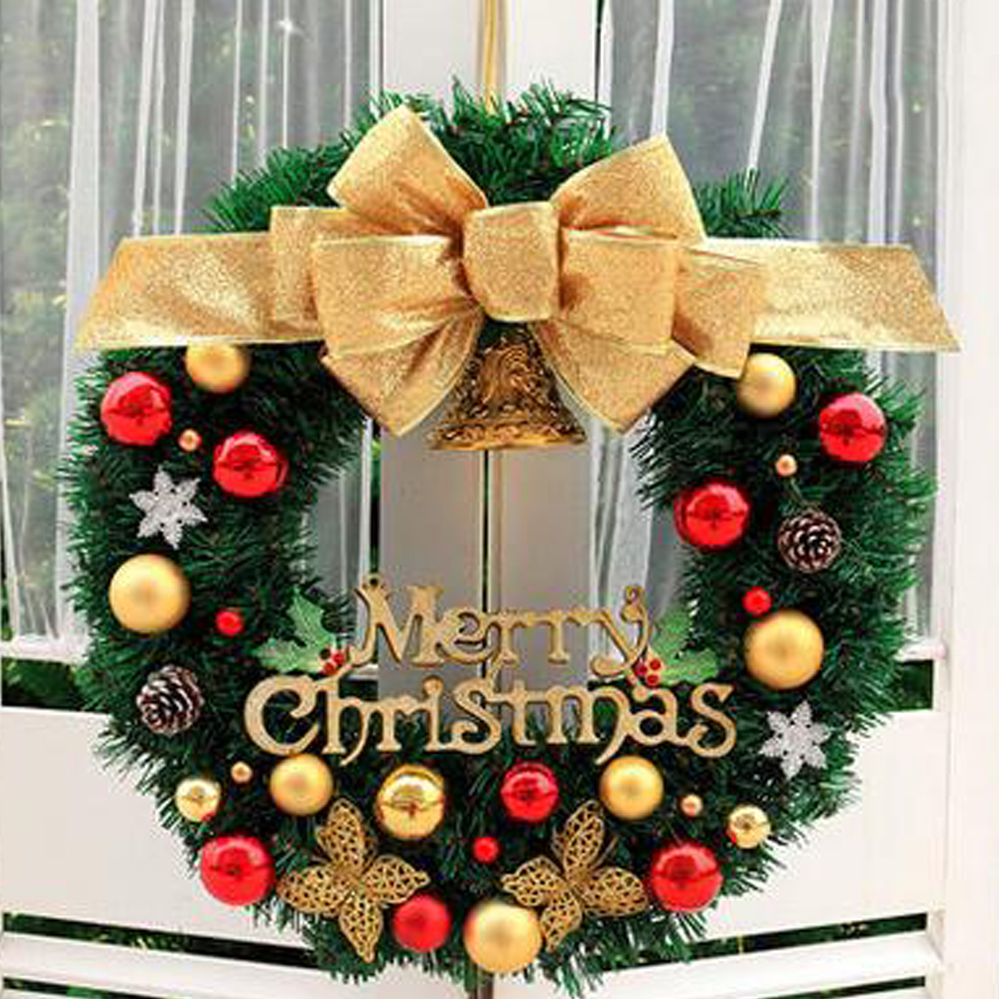 Deko Girlande Weihnachten Weihnachten Große Kranz Tür Wand Ornament Weihnachten Girlande Dekoration Bowknot Jingle Glocke Weihnachten Anhänger Decor