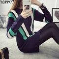 Женщины Свитер 2016 Зима Новый Мода Полосатый Трикотажные Пуловеры Свитера Высокого Качества Долго Тянуть Femme Sweter Mujer SZQ056