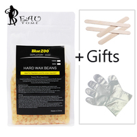 Beautome 10Pcs Wooden spatulas+Creamy Flavor 500g Hair Removal Cream Hard Wax Beans Depilatory Hot Film Pellet Waxing