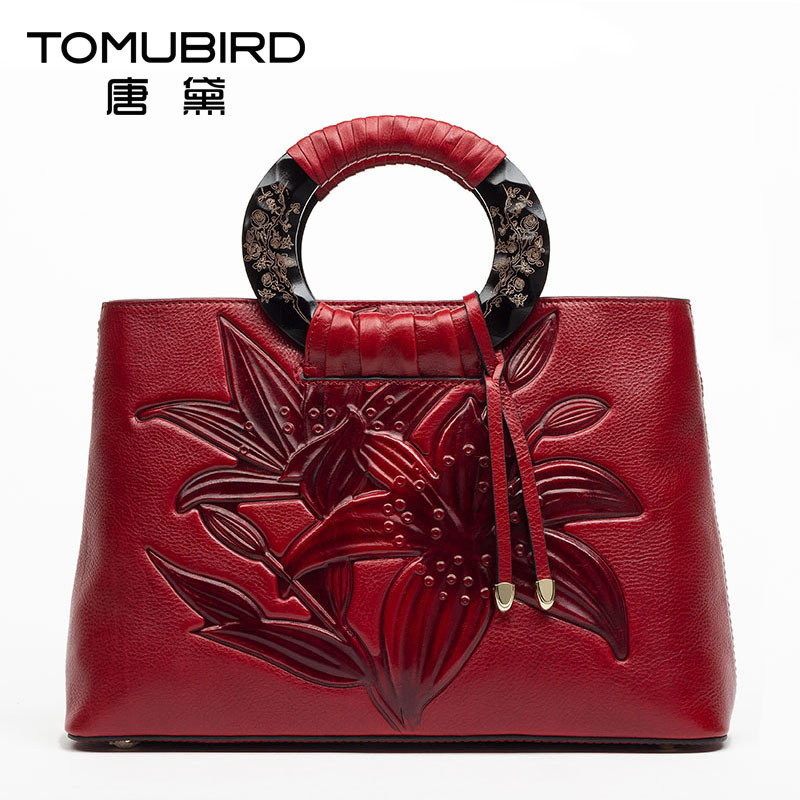 TOMUBIRD Luxury women leather handbags Genuine leather women bag vintage Embossing design elegant female bolsos totes de mujer