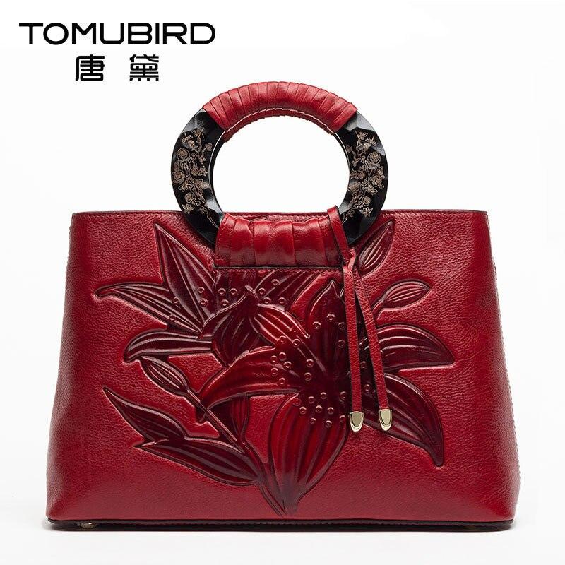 077ffc6dc TOMUBIRD cuero de las mujeres de lujo bolso de las mujeres del cuero  genuino vintage Embossing diseño elegante femenina bolsos de mujer