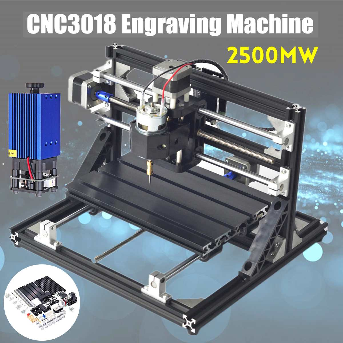 CNC3018 3 Axis Router Spindle Engraver Mini CNC Router DIY Wood Milling Engraving Laser Engraving Machine +2500mW Laser Head