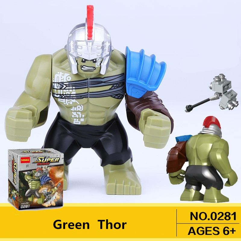 Single Sale Mini Hulk Action Figure Dolls Marvel Super Heroes Newest Thor Movie Legoingly Building Blocks Toys For Children Gift original factory big sale child muscle thor movie avergers superhero costume