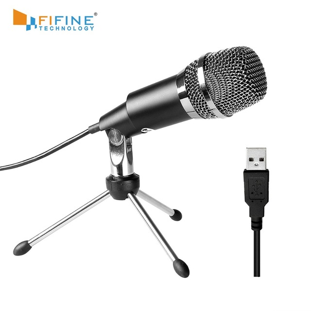 Fifine Plug & Play Home Studio micrófono de condensador USB para Skype, grabaciones para YouTube, búsqueda por voz de Google, juegos (K668)