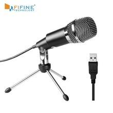 Fifine Plug & Play домашняя студия USB конденсаторный микрофон для Skype, запись для YouTube, поиск голоса Google, игры (K668)