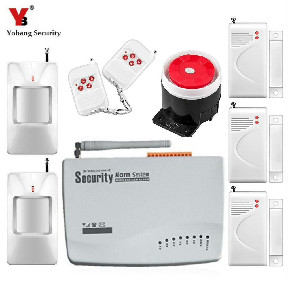 Yobang Security GSM alarm system with Russian and English for optional 900/1800/1900Mhz wireless alarm built-in siren 850 900 1800 1900mhz russian english spanishwired and wireless lcd home security gsm alarm system