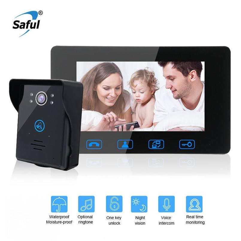 """Здесь можно купить  Saful 7""""color waterproof video door phone intercom for Home Electric unlock function doorbell intercom with IR Night Vision  Безопасность и защита"""