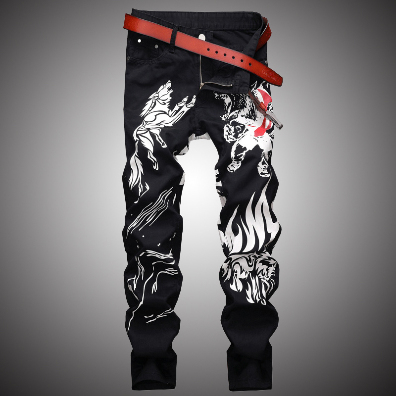 2019 Fashion Print Jeans Pants Men Black Slim Fit Denim Trousers Jean Joggers Men Hip Hop Rock Streetwear Pant Clothing WA105