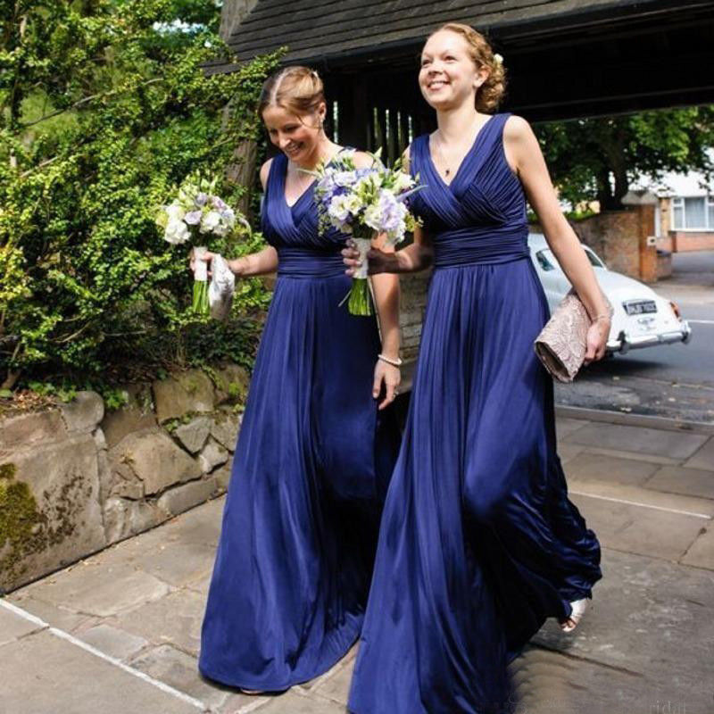 Royal Blue Country   Bridesmaid     Dress   2018 V Neck Ruched A Line Long Beach