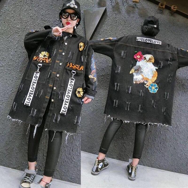 Spring Autumn Ripped Sequins Appliques Pockets Long Sleeve Holes Denim   Trench   Coat Women New Windbreaker Street Outwear NZ106