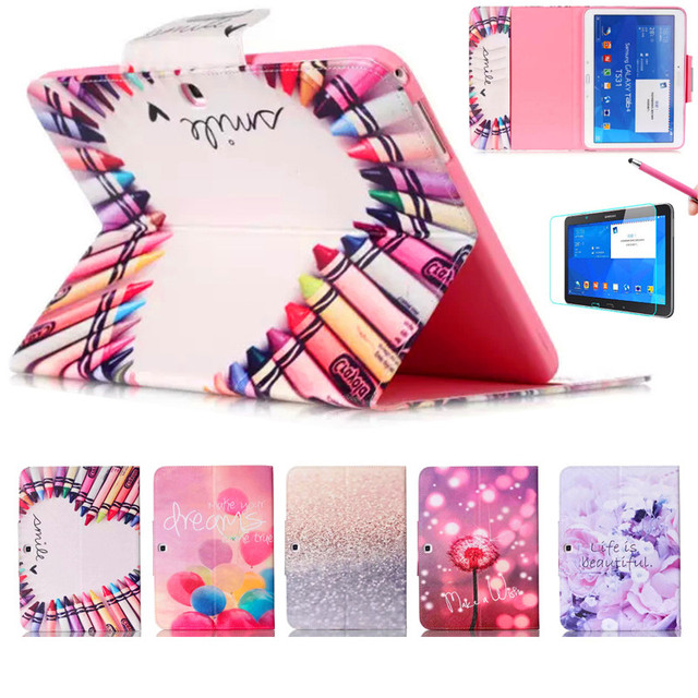 Милый Таблетка Крышка Для Samsung Galaxy Tab 4 10.1 T530 T531 T535 Кожа PU Смарт Дело Стенд Флип ж/Screen Protector пленка + Ручка