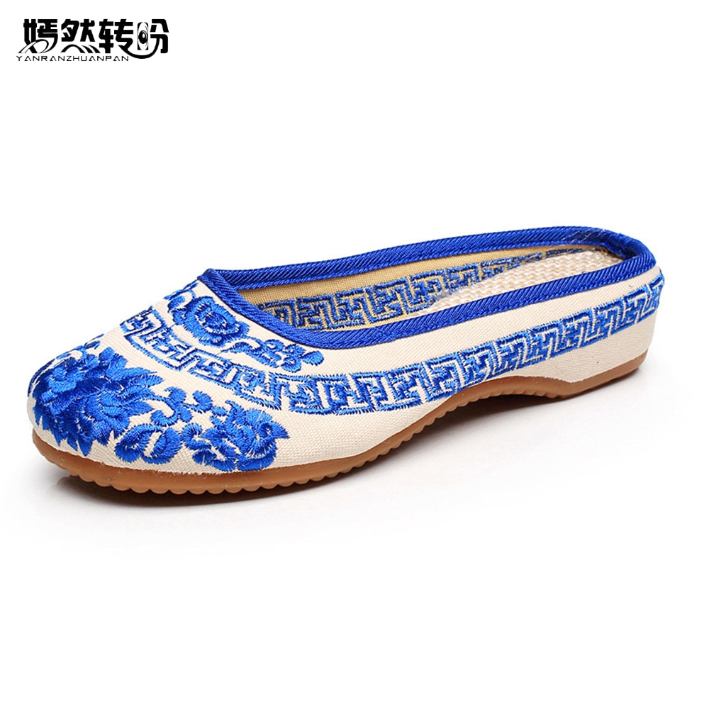 Women Slippers Summer New Vintage Chinese Canvas Old BeiJing Blue and White Embroidery Sandals Soft Shoes Plus Size 41 mnixuan women slippers sandals summer