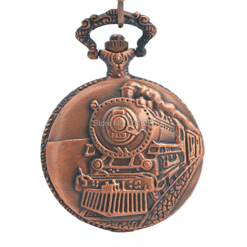 ANTIQUE STYLE TRAIN RAILWAY VINTAGE STYLE MENS/LADIES QUARTZ POCKET WATCH W/ CHAIN NICE GIFT WHOLESALE PRICE H005