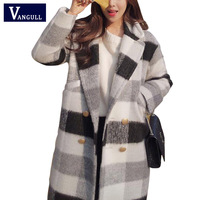Vangull Wool Coat Women Black White Plaid Coat Casual Thick Warm Double Breasted Trench Jackets Autumn Winter Cashmere Jacket