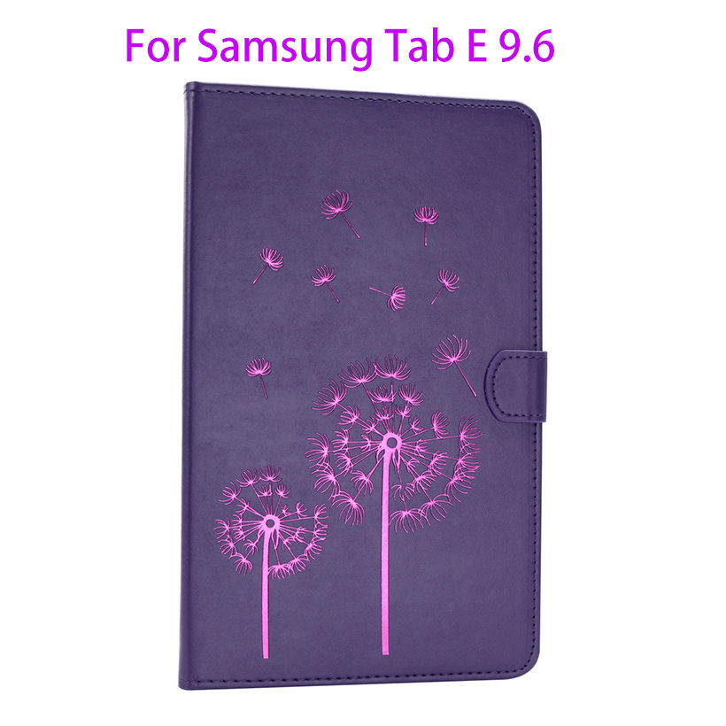 Flip Leather Case For Samsung Galaxy Tab E 9.6 T560 T561 SM-T560 Cover Tablet flowers pattern Fundas Stand Soft Silicone Shell