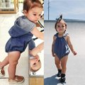 New Newborn Baby Girls Infant Hooded Denim Romper Jumpsuit Infant Clothes Outfits