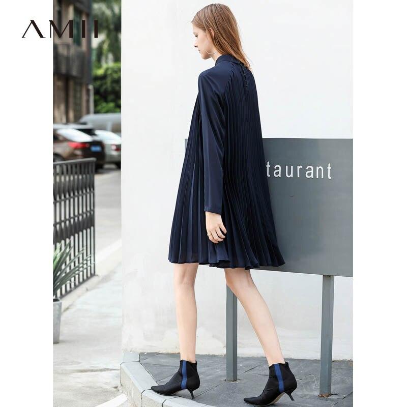 Amii Minimalist Women Midi Dresses Autumn 2018 Preppy Style Solid Long Sleeve Notched Collar Female Causal