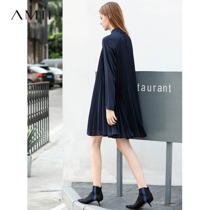 Amii Minimalist Women Midi Dresses Autumn 2018 Preppy Style Solid Long Sleeve Notched Collar Female Causal Dress-in Dresses from Women's Clothing    1
