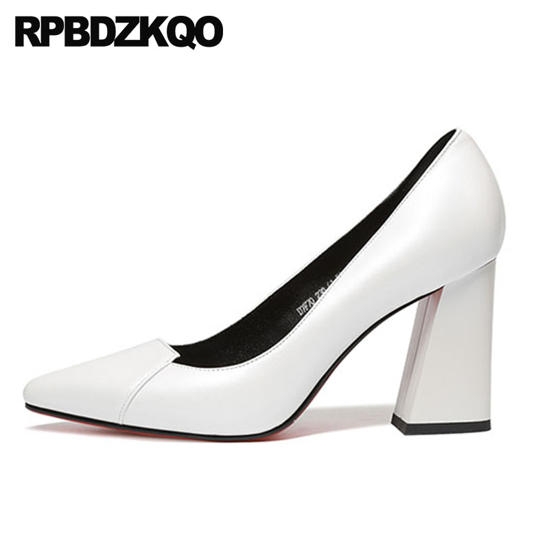 9f9fbfad7eb size 4 34 thick pointed toe office red pumps white sexy court black work  shoes women leather 33 chunky 2018 genuine high heels