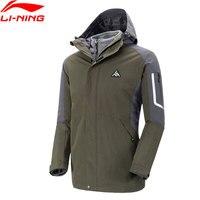 Li Ning Для мужчин открытый 3 в 1 Ветровка внутренняя флисовая куртка 100% полиэстер 2 предмета теплая подкладка спортивная куртка с капюшоном