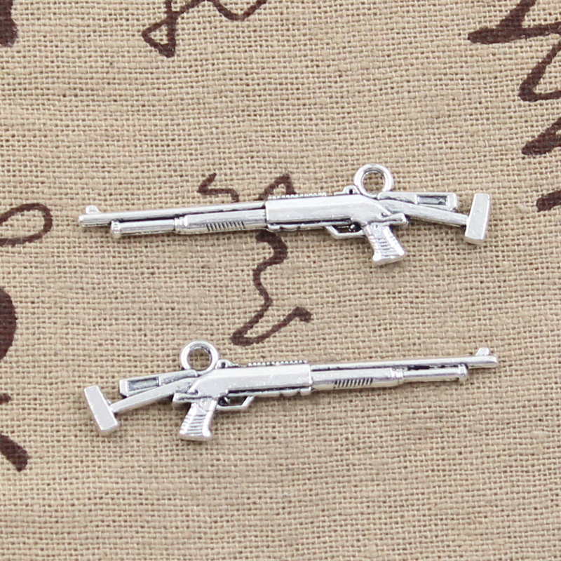 Ancient Silver Alloy Double Sided Sniper Rifle Gun Charm Pendant 1pcs