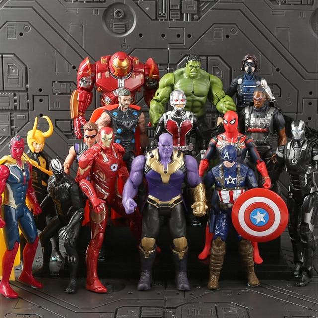 נוקמי 3 אינפיניטי מלחמת תאנסו ברזל עכביש דמות ספיידרמן האלק שחור פנתר איש ברזל פעולה איור צעצועים לילדים 16 -18 CM