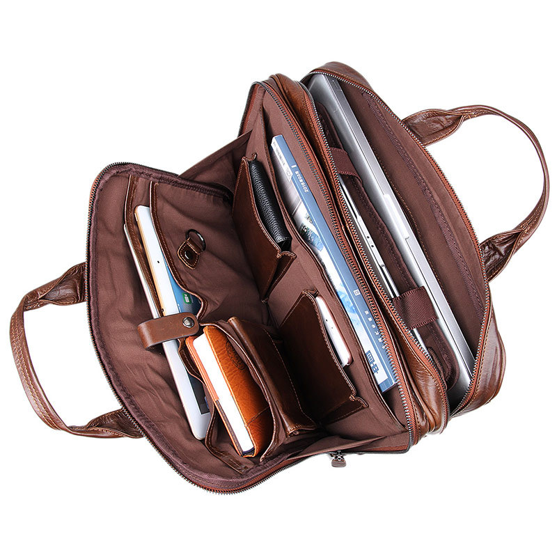 Rindsleder Handtasche Schulter Luxus Leder Casual Reise Mode Brown Laptop Große Männer Aktentasche Tasche Echtem Aktentaschen Hohe Qualität Aus 1waaqI5