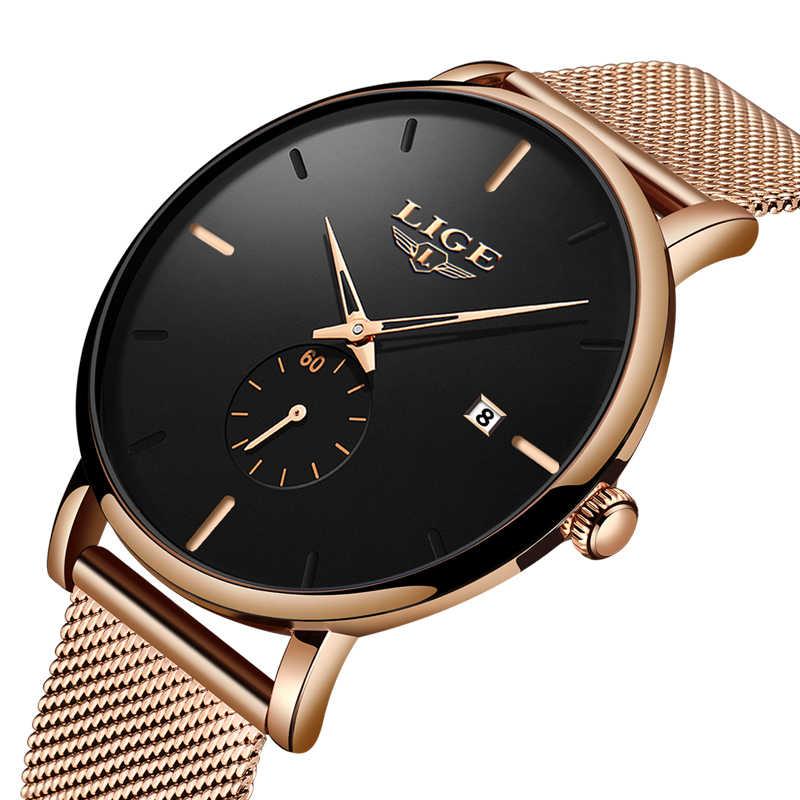 LIGE Luxury ผู้หญิงโลหะตาข่ายนาฬิกาเรียบง่ายแฟชั่นคลาสสิก Casual ควอตซ์นาฬิกาคุณภาพสูงผู้หญิงนาฬิกา Relogio Feminino