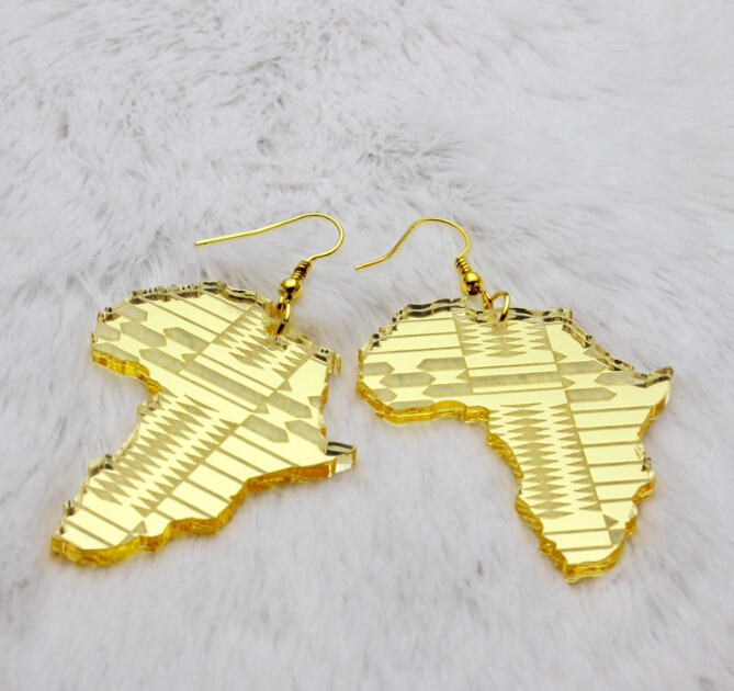 earrings with africa map