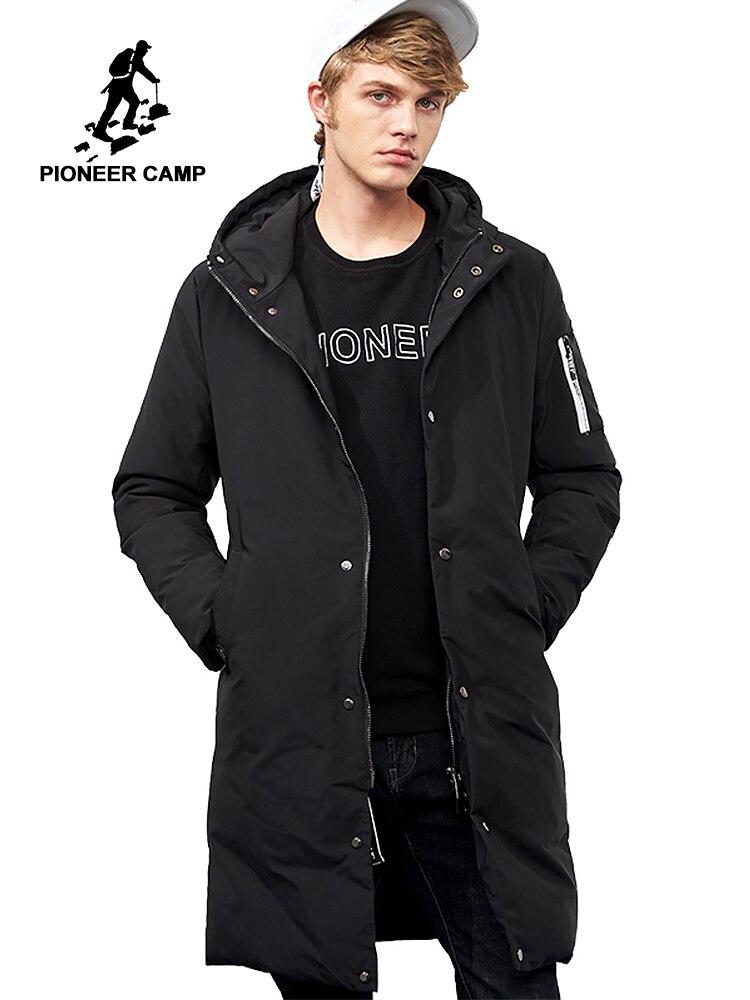 Pioneer Camp กันน้ำอุ่นฤดูหนาวแจ็คเก็ตชายแบรนด์เสื้อผ้ายาวหนาเสื้อชายคุณภาพสูง hooded parkas men AMF705299-ใน เสื้อกันลม จาก เสื้อผ้าผู้ชาย บน   1