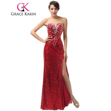Luxury Grace Karin Long Formal Evening Dresses Crystal Sequin Pongee Split Red Elegant Evening Gowns Sexy Party Dress CL6102
