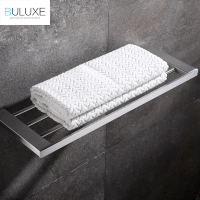 Buluxe Brushed Stainless Steel Towel Rack Square Single Tier Towel Holder with Bar Wall Mounted Bathroom Accessories IFG727