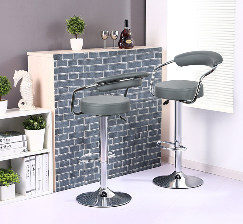 2pcs Fashion Adjustable Gas Lift Bar Stools Bar Chairs Modern PU Leather Hollow Backrest Kitchen Home Bar Furniture Chair HWC цены