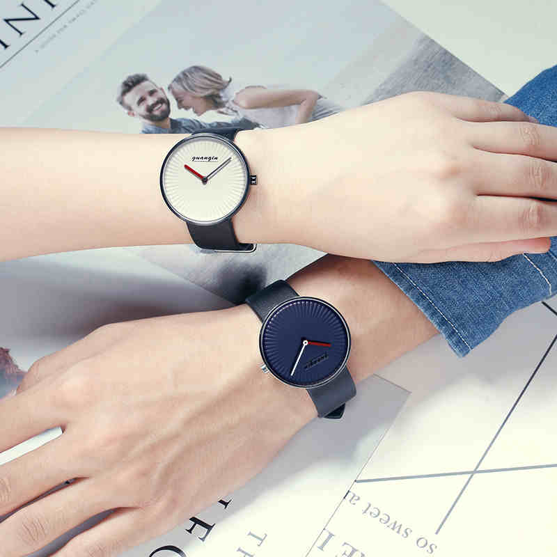 GUANQIN Fashion Couple watches for lovers high end Quartz Watch with Sapphire Leather band Waterproof 2018 Simple Couple watch 197 quartz watch with diamond shaped mirror for couple