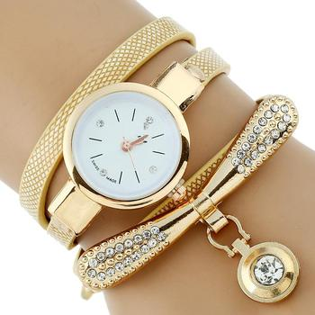 Gnova Platinum Fashion Luxury Brand New Women Rhinestone Gold Bracelet Watch Pu Leather Ladies Quartz Casual Wristwatch dwg brand slim blue watch bracelet quartz watch for women waterproof pu leather rhinestone analog wristwatch classy ladies reloj