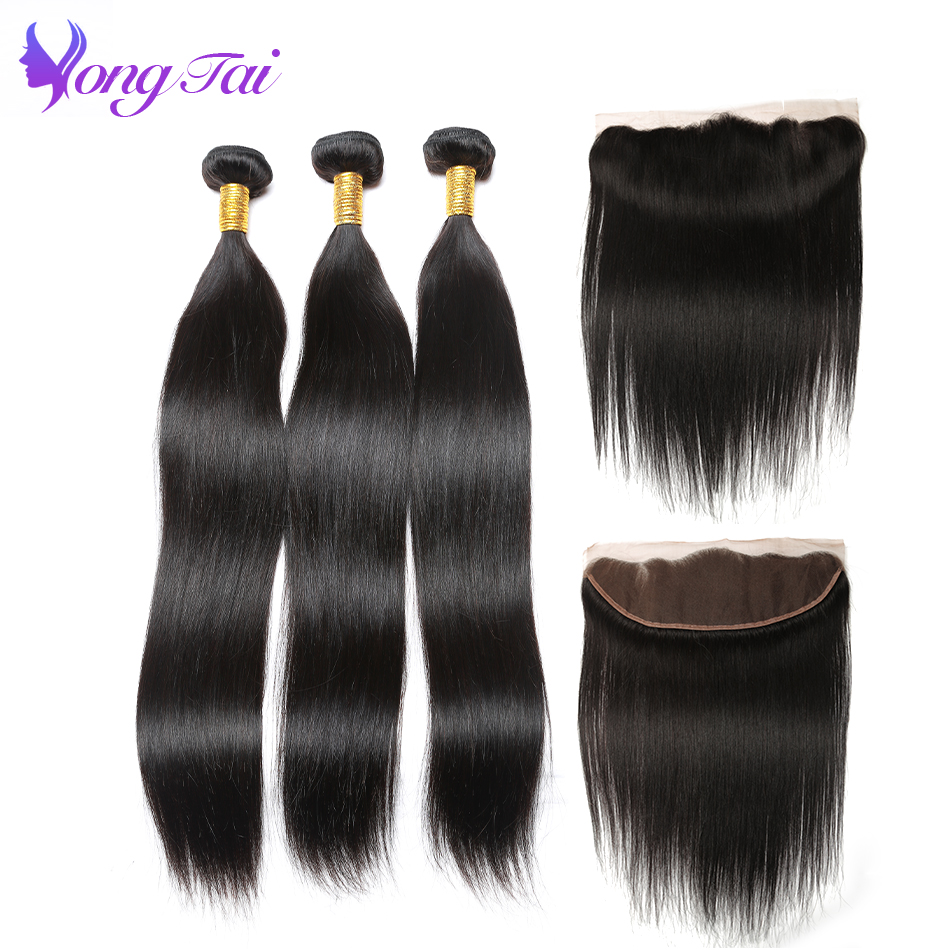 straight hair bundles with frontal closure brazilian hair weave bundles with Lace frontal closure Yongtai hair