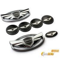 Free shipping For car emblem Genesis Coupe Full Emblem 7pcs/set (Front Emblem + Rear Emblem + 4 Wheel Cap + Horn Botton Sticker)