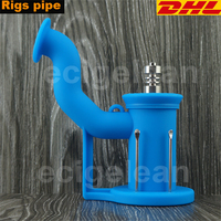DHL 50pcs Silicone Rigs Pipe Silicone Hookah Bongs Silicone Oil Dab Rig Smoking Accessories Tobacco With