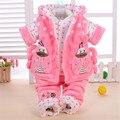 Outono e inverno amassado jaqueta de três peças conjunto de roupas de bebê meninas 3 peças set crianças